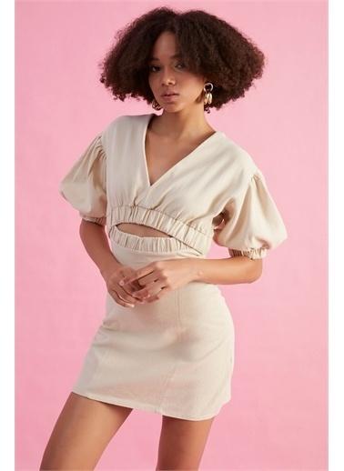 Z Giyim Kadın  Taş  Dekolteli Pamuklu Mini Elbise Taş